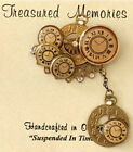Vintage Steampunk Clock Brass Crystal Rhinestone Pin Brooch With Charm