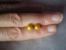 Yellow Freshwater Pearl, 7 mm stud earrings, 925 Sterling Silver & butterfly bac