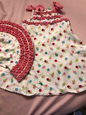 Used Girls Gymboree Ice Cream Dress & Hat Pink  Ruffle Sz 18-24 Hat 2-3