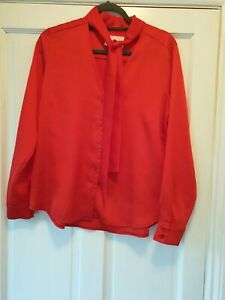 Damsel In A Dress Red Blouse, Size 10, Tie Neck Detail. See Pics