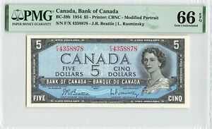 CANADA 5 Dollars 1954, BC-39b Beattie Rasminsky, PMG 66 EPQ Gem UNC, Rare Grade