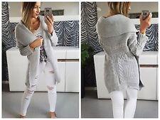 Women Cardigan Jumper Knitwear Sweater NEW 8 10 12 Grey