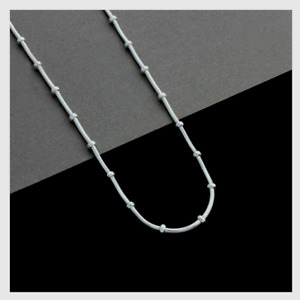 """1 x New Sterling Silver 925 Snake and Bead 16"""" Chain Necklace 1mm Ø & Clasp"""