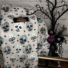 Halloween Sugar Skulls Silver Gray Throw Blanket Velour Fleece Haunted House