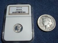 1921 SILVER PEACE DOLLAR + 1943 D DENVER Mercury DIME MS66 FB FULL BANDS NGC