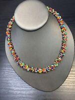 "Women's Ladies Necklace Seed bead Bohemian multi strand Multi Color Bright  18"""