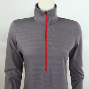 Under Armour Womens Small Threadborne Thin Athletic Zip Pullover Gray