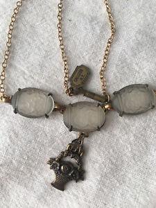 Pididdly Links Camphor Glass Necklace Victorian Revival Flower Basket Charm