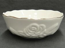 "Lenox Small Bowl Embossed Rose Rosebud with Ribbon Banner Gilded Edge 5.5"" Exc"
