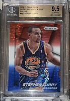 Pop 1 of 3💎2014-15 Stephen Curry PANINI PRIZM RED WHITE BLUE PULSAR BGS 9.5 PSA