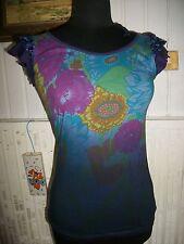HAUT TOPS T SHIRTS tunique CUSTO Coton turquoise/violet fleur t.1 36/38