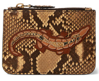 $550 Ralph Lauren Purple Label Collection Crocodile Python Mini Zip Pouch Clutch