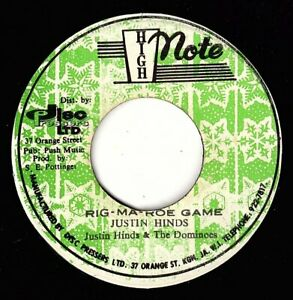 """JUSTIN HINDS-rig ma roe game     high note 7""""        (hear)  reggae roots"""