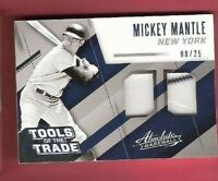 MICKEY MANTLE 2017 ABSOLUTE FANTASY CAMP WORN 2 JERSEY CARD #d 8/25 TOOLS TRADE