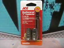 ACE COAXIAL F CRIMP-ON CONNECTORS - for RG-6 Cable - Package of Two - New!
