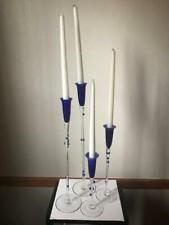 """Rosenthal Set Of 4""""Cobalt Pearl"""" Crystal Collector Candle Holder Set"""