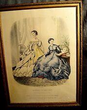 Gravure ancienne signée La Mode illustrée 1866 encadrée Imprimerie Leroy Paris