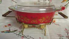 Pyrex GOLDEN POINSETTIA Casserole Dish w/Lid~ 045 w/Cradle ~ 2 1/2 Quart