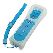 Blue Wiimote Remote Vibration Controller + Silicon Case + Strap For WII Wii U