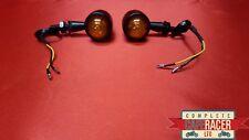 (F8) CAFE RACER LED INDICATORS BLACK METAL CASE ORANGE LENSE (PAIR)