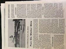 m9-9b ephemera 1960s article fun on water skis picture johnnie morris