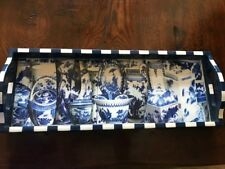 Blue and white oriental themed painted wood tray