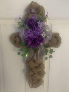 Easter Cross Burlap Wreath