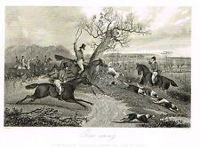 "Sporting Review's  - ""GONE AWAY"" by Alken - Steel Engraving - 1844"