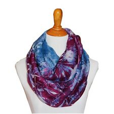 Soft 2-Tones Paisley Flower Light Weight X-large Infinity Scarf Loop Cowl-Purple