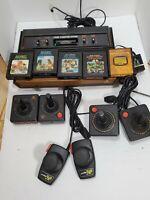 Atari 2600 Model Cx-2600 Wood grain 5 Games 6 Controllers Bundle - FOR PARTS