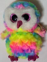 Owl ty beanie boo rainbow new Owen 2018 plush stuffed animal toy tag z7