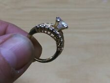 "Beautiful ""Mgl"" Gold toned ring. With huge Cubic Zirconia size 7"