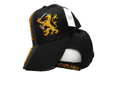 Holland Netherlands Country Letters Flag Black Hat Cap 3D embroidered