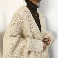 2020 Women Outerwear Loose Knitted Sweater Cardigan Jacket Warm Winter Long Coat