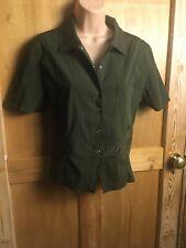 Forest Green snap Shirt Short Sleeve 12 Belt Style Smart Sexy