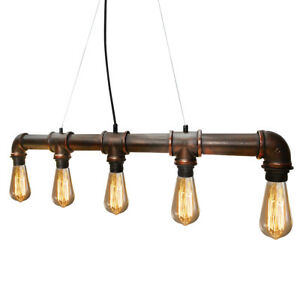 Retro Industrial Water Pipe Style Ceiling Hanging 5 Head Steampunk Light M0023