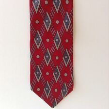 Oleg Cassini Geometric Print Mens Neck Tie Silk Red Gray Diamonds Italy