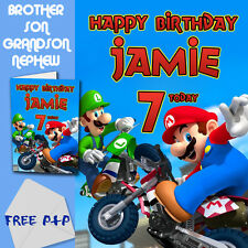 SUPER MARIO - PERSONALISED Birthday Card Son Brother Nephew Grandson