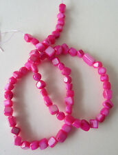 "16"" strand HOT PINK Mother of Pearl DICE/CUBE 6mm - 8mm approx. 68 beads (dyed)"