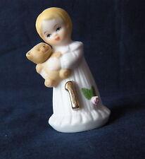 "Vintage 1981 Enesco Growing Up 1 Birthday Girl Cake Topper Blonde Figurine 2.75"""