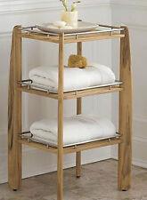 A GRADE TEAK BATHROOM SHOWER BENCH STOOL w/ SHELF PATIO FURNITURE OUTDOOR INDOOR
