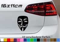 Anonymous 16x11cm Aufkleber Golf Maske Auto Hack Guy Fawkes Occupy Sticker Decal