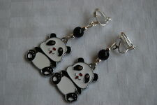 Handmade cute sweet panda clip on earrings silver plated enamel black white P01