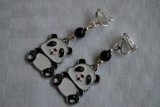 Handmade cute sweet panda clip on earrings silver plated enamel black white