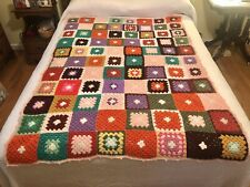 Handmade Crochet Knit Granny Squares Afghan Throw Blanket Lap MultiColor Vintage