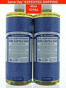 50 oz Dr. Bronner's Pure Castile Soap18-in-1 Peppermint 2 Packs Total 50 oz