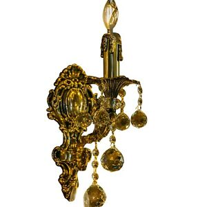 Bronze Wall Light Handmade Brass Sconces Crystal Bronze Color 1 Lights Indoor