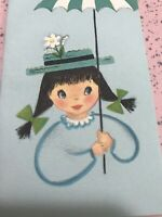 Vintage Birthday Card Hallmark Aqua Blue Girl Dress Hat Umbrella Daisy