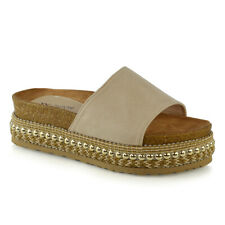Womens Low Wedge Flatform Sandals Ladies Espadrilles Studs Platform Mule Shoes