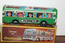 VINTAGE TIN FRICTION GREEN CHAMPAK COACH BUS in ORIGINAL BOX